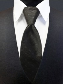'Allure' Tonal Dot Tie - Black
