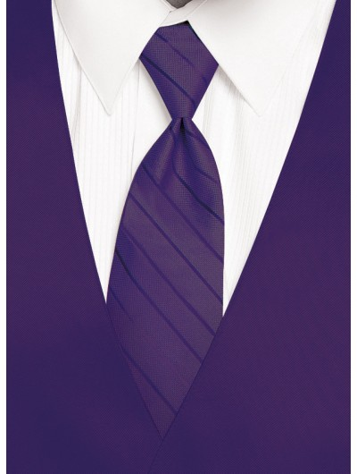 'Larr Brio' Simply Solid Tie - Purple Storm