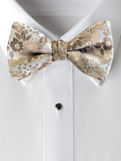 'Allure' Floral Bow Tie - Sandstone