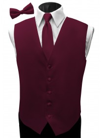'Malibu' Satin Full Back Vest - Wine