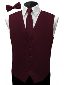 'Malibu' Satin Full Back Vest - Fino Burgundy