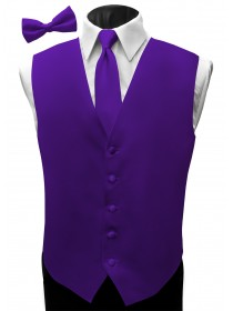 'Malibu' Satin Full Back Vest - Majestic Purple