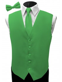 'Malibu' Satin Full Back Vest - Capri Green