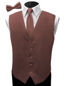 'Malibu' Satin Full Back Vest - Rosewood