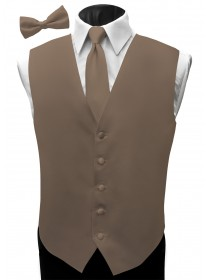 'Malibu' Satin Full Back Vest - Cappuccino