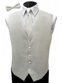 'Malibu' Satin Full Back Vest - Ivory