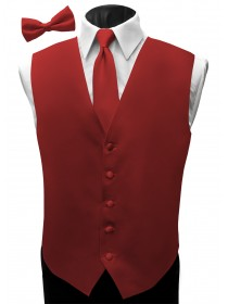 'Malibu' Satin Full Back Vest - Capri Red