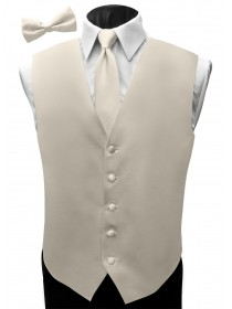 'Malibu' Satin Full Back Vest - Fino Cream