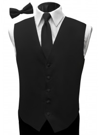 'Malibu' Satin Full Back Vest - Black