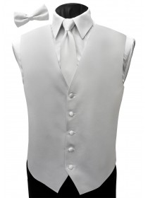'Malibu' Satin Full Back Vest - White