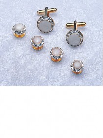 Crystal / White / Gold Stud & Cufflink Set