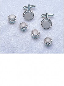 Crystal / White / Silver Stud & Cufflink Set