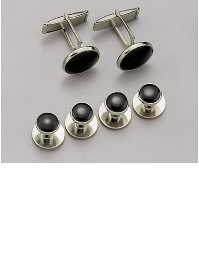 Black / Silver Stud & Cufflink Set