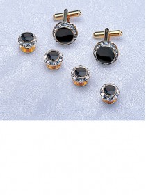 Crystal / Black / Gold Stud & Cufflink Set