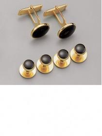 Black / Gold Stud & Cufflink Set