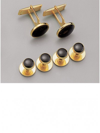 Black / Gold Stud & Cufflink Set
