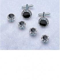 Crystal / Black / Silver Stud & Cufflink Set