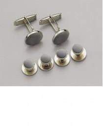 Gray / Gold Stud & Cufflink Set