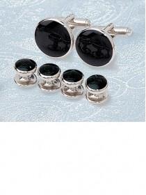 Onyx / Silver Stud & Cufflink Set