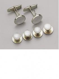 White / Silver Stud & Cufflink Set