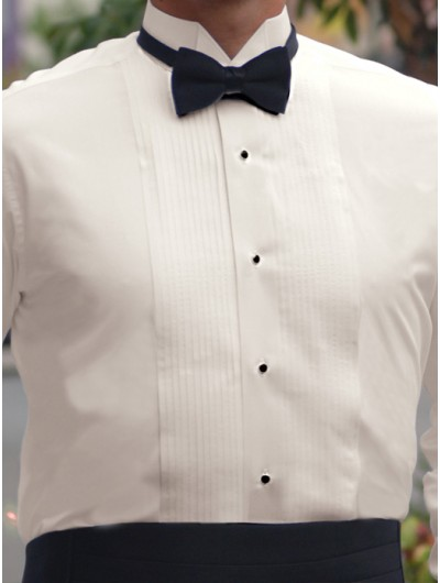 "Ivory Wingtip Collar Shirt - 1/8"" Pintuck"