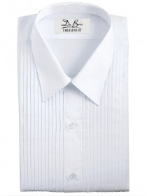 "White Laydown Collar Shirt - 1/4"" Pleat"