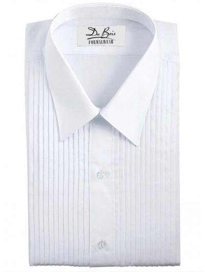 """White Laydown Collar Shirt - 1/4"""" Pleat"""