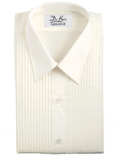 "Ivory Laydown Collar Shirt - 1/4"" Pleat"