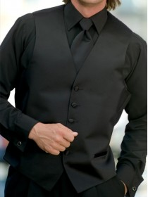 Microfiber Black Laydown Collar Shirt