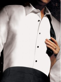 Microfiber White Laydown Collar Shirt