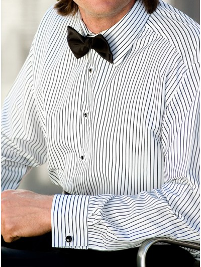 Microfiber White Shirt with Black Stripes