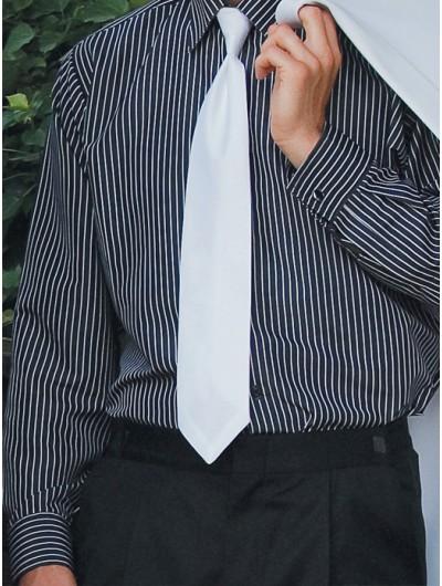Microfiber Black Shirt with White Stripes