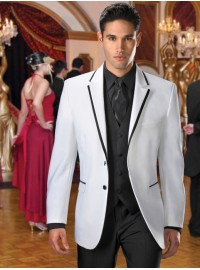 'Jean Yves' Savoy White w/ Black Inset Notch Lapel