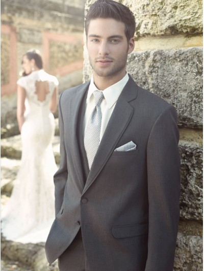 'Jean Yves' Allure Men Steel Gray Notch Lapel