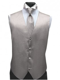 'Larr Brio' Vertical Metallic Light Silver Full Back Vest