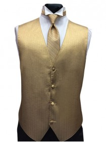 'Larr Brio' Vertical Metallic Gold Full Back Vest