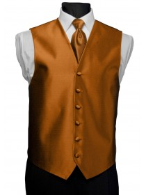'After Six' Aries Full Back Vest - Burnt Orange