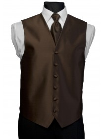 'After Six' Aries Full Back Vest - Espresso